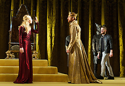 Edward II<br /> by Christopher Marlowe<br /> at The Olivier Theatre, London, Great Britain <br /> press photocall<br /> 2nd September 2013 <br /> directed by Joe Hill-Gibbins, designed by Lizzie Clachan<br /> <br /> John Heffernan as King Edward II<br /> <br /> Vanessa Kirby as Queen Isabella<br /> <br /> Kyle Soller as Piers Gaveston <br /> <br /> Jamie Satterthwaite as a Dog <br /> <br /> Jack Helsby as a Dog <br /> <br /> Kobna Holbrook Smith as Lord Mortimer <br /> <br /> <br /> Photograph by Elliott Franks