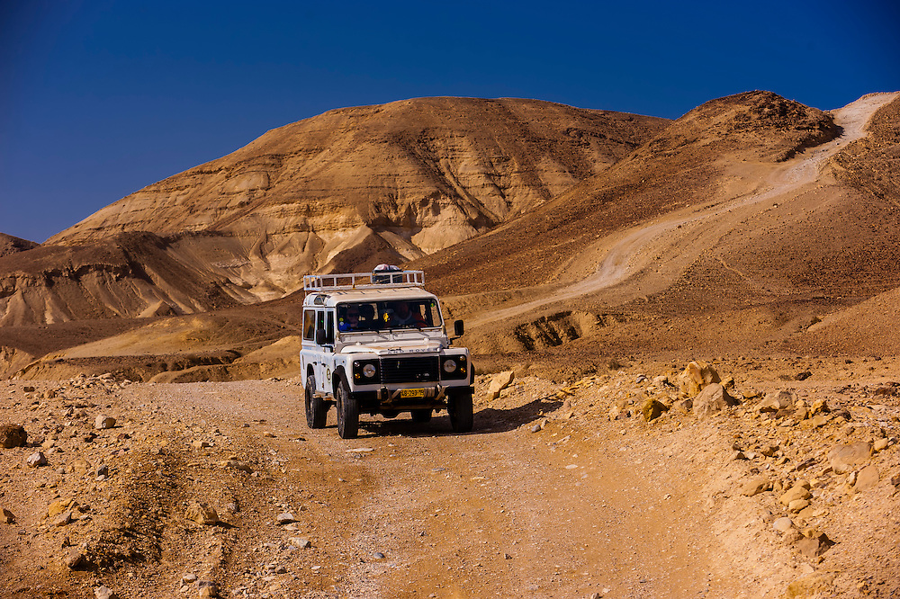 Jeeps traverse the Metzoke Dragot, an area in the Judean Desert near the Dead Sea, Israel.