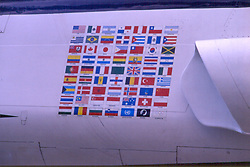 Flag decals on side of jet fighter on display at the United Air Force Academy in Colorado Springs Colorado Note: This image was originally produced on film and scanned to produce a digital file.  Some dust may be visible from that scan