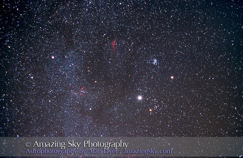 Jupiter and Saturn in winter sky, taken November 2000<br /> <br /> 28mm lens, f/2.8, Ektachrome 200 slide film<br /> <br /> from home in Alberta