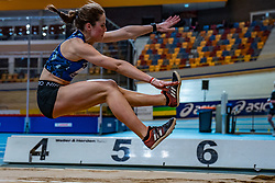 Pauline Hondema in action on long jump during limit matches to be held simultaneously with the Dutch Athletics Championships on 13 February 2021 in Apeldoorn