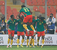 Photo: Steve Bond/Richard Lane Photography.<br /> Cameroun v Zambia. Africa Cup of Nations. 26/01/2008. Andre Bikey (top, 23) joins in the celebrations of Achille Amana's goal