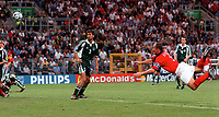 Alan Shearer scores the only goal for England. England v Germany, Euro 2000 Group A, Charleroi, 17/06/2000. Credit: Colorsport / Andrew Cowie