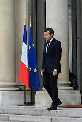 August 31, 2017 - Paris, France - French President Emmanuel Macron Emmanuel Macron receive the general secretary of European council Mr Thorbjorn Jagland, in Paris, France, on August 31, 2017. (Credit Image: © Julien Mattia/NurPhoto via ZUMA Press)