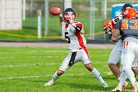 KELOWNA, BC - OCTOBER 6: Quarterback Keagen Henderson #5 of the VI Raiders throws the ball against the Okanagan Sun at the Apple Bowl on October 6, 2019 in Kelowna, Canada. (Photo by Marissa Baecker/Shoot the Breeze)