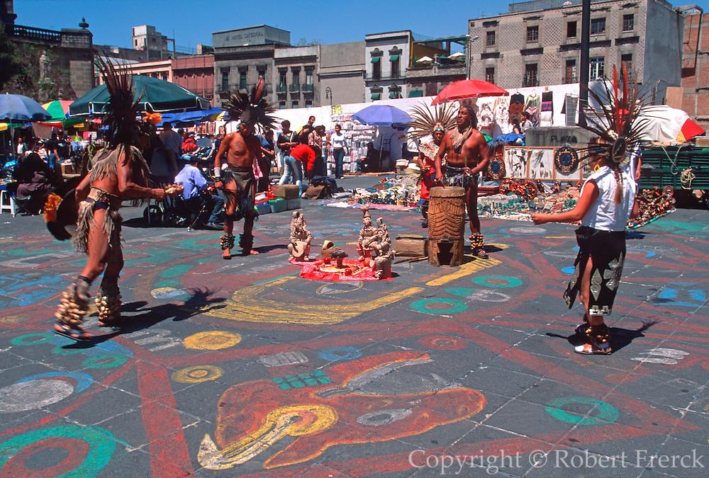 MEXICO, MEXICO CITY, AZTEC Aztec dancers perform in Zocalo Plaza