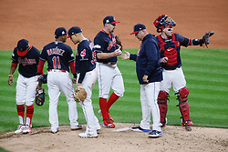 October 11, 2017 - Cleveland, OH, USA - The Cleveland Indians' Travis Shaw gets the ball from manager Terry Francona as he comes in to relive Andrew Miller in the sixth inning against the New York Yankees during Game 5 of the American League Division Series, Wenesday, Oct. 11, 2017, at Progressive Field in Cleveland. (Credit Image: © Leah Klafczynski/TNS via ZUMA Wire)