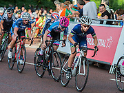 Laura Trott in blue with white helmet. The Womens Grand Prix - which is won by Barbara Guarischi. Prudential RideLondon a festival of cycling, with more than 95,000 cyclists, including some of the world's top professionals, participating in five separate events over the weekend of 1-2 August.