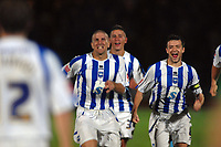 Fotball<br /> England<br /> Foto: Colorsport/Digitalsport<br /> NORWAY ONLY<br /> <br /> Adam El Abd (left) and Captain, Steven Thomson rush to congratulate Matt Richards after scoring the winning goal in the Penalty Shoot out. Brighton and Hove Albion v Manchester City Carling League Cup 24/9/2008