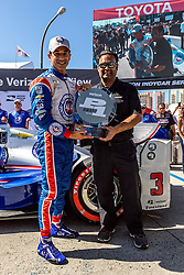 LONG BEACH, CA - APRIL 16  Team Penske driver Helio Castroneves captured his second consecutive Verizon P1 Award during the 2016 Verizon IndyCar Series season with a top lap of 1 minute, 7.1246 seconds (105.547 mph) during today's Firestone Fast Six qualifications. The pole is the third for Castroneves at Long Beach and the 47th of his career, which is fourth all-time in Indy car history, two behind Bobby Unser (49) for third in the record book. Castroneves will be joined on the front row by Target Chip Ganassi Racing driver Scott Dixon (1:07.4455; 105.405 mph) who is the defending Toyota Grand Prix of Long Beach race winner. 2016 April 16.  Byline, credit, TV usage, web usage or linkback must read SILVEXPHOTO.COM. Failure to byline correctly will incur double the agreed fee. Tel: +1 714 504 6870.