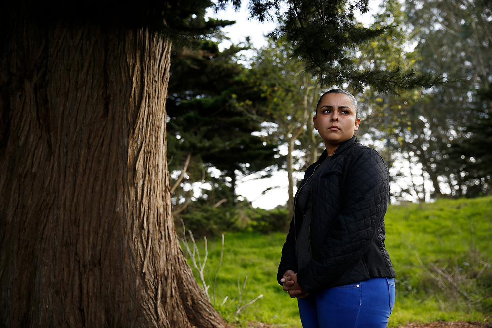 Sindy Flores stands for a portrait on Tuesday, Jan. 29, 2019, in San Francisco, Calif. Her one-year-old girl is being held at a Texas shelter. Flores, of Honduras, is staying in S.F. with relatives awaiting a claim for asylum.