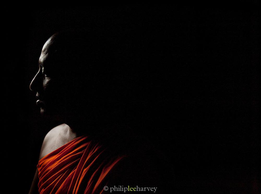 Buddhist monk at Mulkirigala Monastery, Sri Lanka