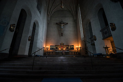 13 April 2017, Stockholm, Sweden: Maundy Thursday evening service, in Högalid Church, Church of Sweden.