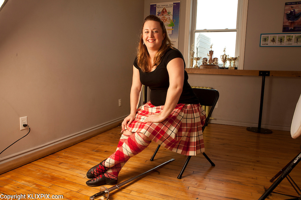 Erin Mansfield, Highland Dance Champ CPA.<br /> Photographed at dance her studio in Ottawa for CPA Canada Magazine, August 2016 Workplace Profile.
