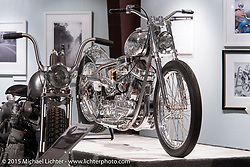 """Bill Dodge's custom Panhead in Michael Lichter's Motorcycles as Art annual exhibition titled """"The Naked Truth"""" at the Buffalo Chip Gallery during the 75th Annual Sturgis Black Hills Motorcycle Rally.  SD, USA.  August 4, 2015.  Photography ©2015 Michael Lichter."""