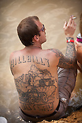 Full back Hillbilly tattoo during the annual Summer Redneck Games Dublin, GA.