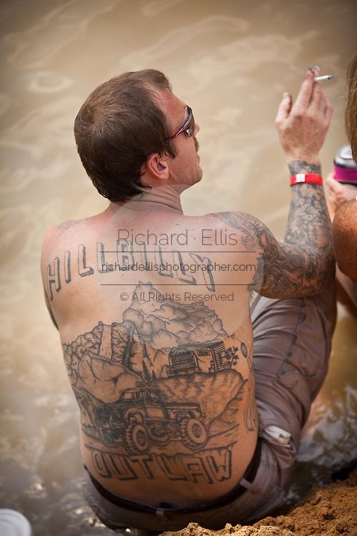 Full back Hillbilly tattoo during the annual Summer Redneck Games Dublin, GA.