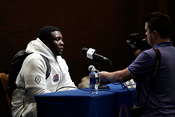 Lloyd Cushenberry III #79 of the LSU Tigers speaks with the media at Media Day on Thursday, Dec. 26, in Atlanta. LSU will face Oklahoma in the 2019 College Football Playoff Semifinal at the Chick-fil-A Peach Bowl. (Paul Abell via Abell Images for the Chick-fil-A Peach Bowl)