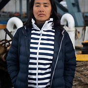 Samantha from Mexico. Deckhand. Photographed in Sunderland after end of patrol in the North Sea.