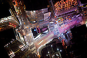 Aerial photograph above Times Square in Manhattan at night. Taken from a helicopter by photographer Evan Joseph.