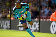 Goalkeeper Heurelho Gomes of Watford in action. Barclays Premier League, Watford v Swansea city at Vicarage Road in London on Saturday 12th September 2015.<br /> pic by John Patrick Fletcher, Andrew Orchard sports photography.
