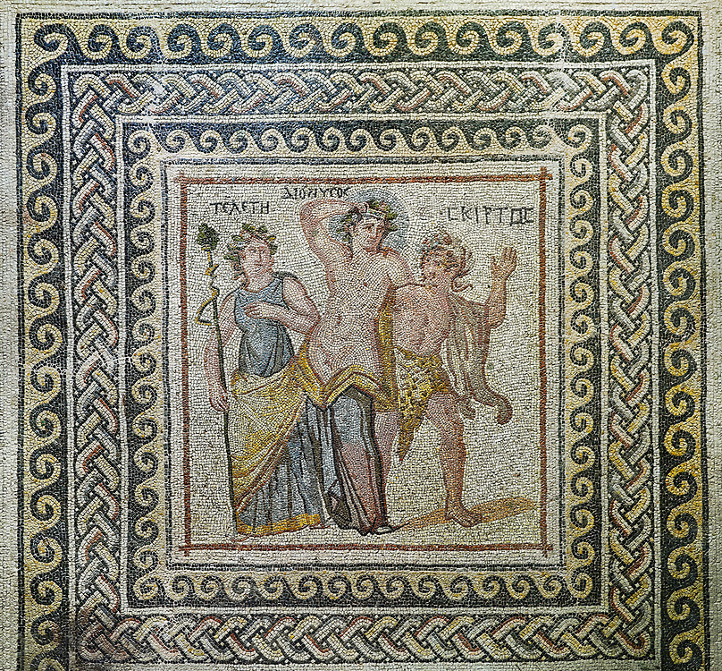 Roman mosaics - Dionysus Mosaic. Poseidon Villa Ancient Zeugama, 3rd century AD . Zeugma Mosaic Museum, Gaziantep, Turkey. .<br /> <br /> If you prefer to buy from our ALAMY PHOTO LIBRARY  Collection visit : https://www.alamy.com/portfolio/paul-williams-funkystock/roman-mosaic.html - Type -   Zeugma   - into the LOWER SEARCH WITHIN GALLERY box. Refine search by adding background colour, place, museum etc<br /> <br /> Visit our ROMAN MOSAIC PHOTO COLLECTIONS for more photos to download  as wall art prints https://funkystock.photoshelter.com/gallery-collection/Roman-Mosaics-Art-Pictures-Images/C0000LcfNel7FpLI