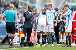 hNew Manager Chris Powell, in his first game in charge of Huddersfield, s to his team - Photo mandatory by-line: Rogan Thomson/JMP - 07966 386802 - 13/09/2014 - SPORT - FOOTBALL - Huddersfield, England - The John Smith's Stadium - Huddersfield town v Middlesbrough - Sky Bet Championship.