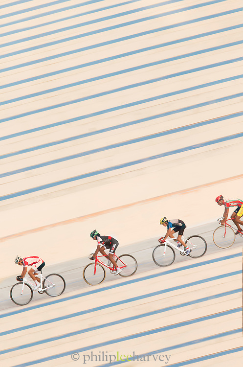 Cyclists training at Stade Velodrome in Casablanca, Morocco