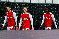 Dan Barlaser, Ben Wiles and Matthew Olosunde of Rotherham United leave the pitch at full time - Mandatory by-line: Ryan Crockett/JMP - 16/01/2021 - FOOTBALL - Pride Park Stadium - Derby, England - Derby County v Rotherham United - Sky Bet Championship