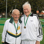 Frank Pitt, Australia, (left) and Eric Berner, Australia, Bronze Medal Winners, 85 Mens Doubles during the 2009 ITF Super-Seniors World Team and Individual Championships at Perth, Western Australia, between 2-15th November, 2009.