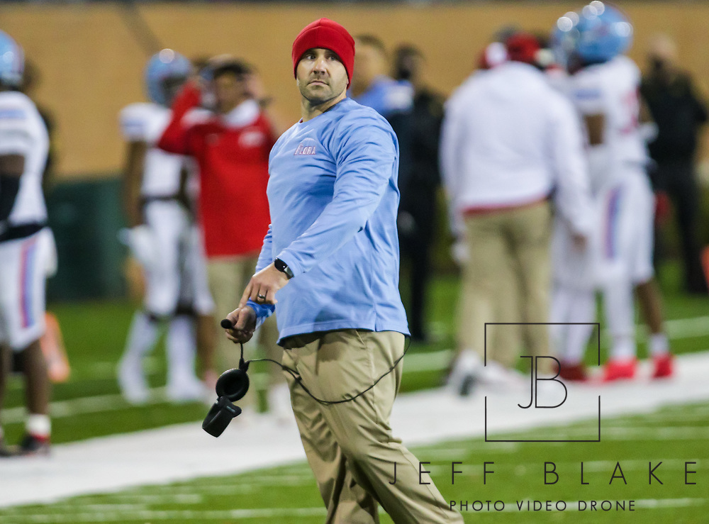 AC Flora Falcons head coach Dustin Curtis reacts to a call against the North Myrtle Beach Chiefs during the first half the state championship game at Benedict College.