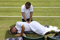 July 6, 2017 - Wimbledon, Angleterre - Steve Darcis of Belgium  and the kine (Credit Image: © Panoramic via ZUMA Press)