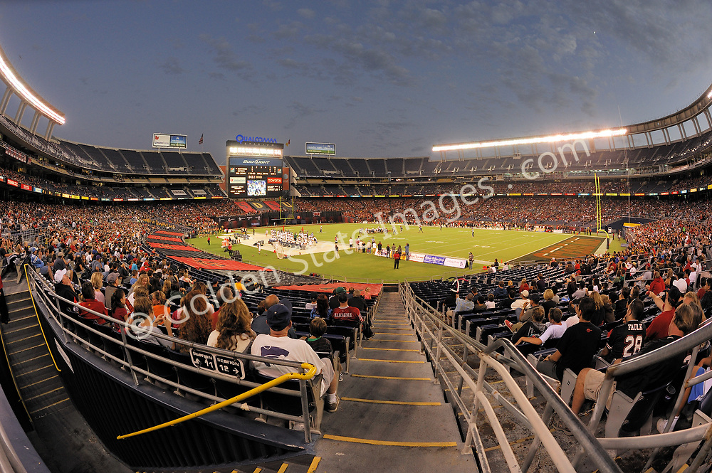 Saturday night college football game. San Diego State Aztecs playing the Cal Poly Mustangs.