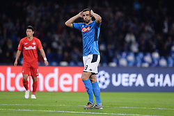 November 5, 2019, Napoli, Napoli, Italia: Foto Cafaro/LaPresse.5 Novembre 2019 Napoli, Italia.sport.calcio.SSC Napoli vs FC Salzburg - Uefa Champions League stagione 2019/20 Gruppo E, giornata 4 - stadio San Paolo.Nella foto: Nikola Maksimovic (SSC Napoli) deluso...Photo Cafaro/LaPresse.November 5, 2019 Naples, Italy.sport.soccer.SSC Napoli vs FC Salzburg - Uefa Champions League 2019/20 season Group E matchday 4 - San Paolo stadium.In the pic: Nikola Maksimovic (SSC Napoli) shows his disappointment. (Credit Image: © Cafaro/Lapresse via ZUMA Press)