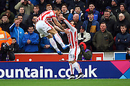 Marko Arnautovic of Stoke City (l) celebrates after scoring his teams 1st goal. Barclays Premier league match, Stoke city v Manchester city at the Britannia Stadium in Stoke on Trent, Staffs on Saturday 5th December 2015.<br /> pic by Chris Stading, Andrew Orchard sports photography.