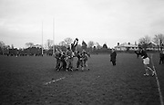 McBride in the centre of a line out during Irish team practice, Dublin,..Irish Rugby Football Union, Ireland v England, Five Nations, Ireland practice at Old Belvedere, Dublin, Ireland, Friday 10th February, 1967,.10.2.1967, 2.10.1967, .. Referee- D M Hughes, Welsh Rugby Union, ..Score- Ireland 3 - 8 England, ..Irish Team, ..T J Kiernan,  Wearing number 15 Irish jersey, Full Back, Cork Constitution Rugby Football Club, Cork, Ireland,..D Scott, Wearing number 14 Irish jersey, Right Wing, Queens University Rugby Football Club, Belfast, Northern Ireland, ..F P K Bresnihan, Wearing number 13 Irish jersey, Right Centre, University College Dublin Rugby Football Club, Dublin, Ireland, ..J C Walsh,  Wearing number 12 Irish jersey, Left Centre, Sundays Well Rugby Football Club, Cork, Ireland, ..N H Brophy, Wearing number 11 Irish jersey, Left wing, Blackrock College Rugby Football Club, Dublin, Ireland, ..C M H Gibson, Wearing number 10 Irish jersey, Stand Off, N.I.F.C, Rugby Football Club, Belfast, Northern Ireland, ..B F Sherry, Wearing number 9 Irish jersey, Scrum Half, Terenure Rugby Football Club, Dublin, Ireland, ..K G Goodall, Wearing number 8 Irish jersey, Forward, Newcastle University Rugby Football Club, Newcastle, England, ..M G Doyle, Wearing number 7 Irish jersey, Forward, Edinburgh Wanderers Rugby Football Club, Edinburgh, Scotland, ..N Murphy, Wearing number 6 Irish jersey, Captain of the Irish team, Forward, Cork Constitution Rugby Football Club, Cork, Ireland,..M G Molloy, Wearing number 5 Irish jersey, Forward, University College Galway Rugby Football Club, Galway, Ireland,  ..W J McBride, Wearing number 4 Irish jersey, Forward, Ballymena Rugby Football Club, Antrim, Northern Ireland,..P O'Callaghan, Wearing number 3 Irish jersey, Forward, Dolphin Rugby Football Club, Cork, Ireland, ..K W Kennedy, Wearing number 2 Irish jersey, Forward, C I Y M S Rugby Football Club, Belfast, Northern Ireland, ..T A Moroney, Wearing number 1 Irish jersey, Forward, Universit