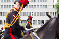 © Licensed to London News Pictures. 23/07/2013. London, UK. Gunners of the King's Troop Royal Artillery carry out preparations for a gun salute at Wellington Barracks in Central London today (23/07/2013), as they prepare to mark the birth of the son of the Duke and Duchess of Cambridge, who was born yesterday afternoon at the Lindo Wing of St Mary's Hospital in Paddington London. Photo credit: Matt Cetti-Roberts/LNP