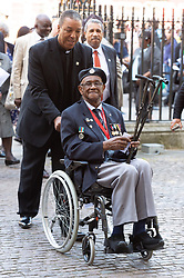 © Licensed to London News Pictures. 22/06/2018. London, UK. Mr Allan White, a World War II veteran from the Windrush generation attends a service of Thanksgiving at Westminster Abbey to mark the 70th Anniversary of the Landing of the Windrush. The MV Windrush ship docked at Tilbury in the Port of London on 22nd June 1948 and  was carrying 492 passengers from the port of Kingston in Jamaica. Photo credit: Ray Tang/LNP