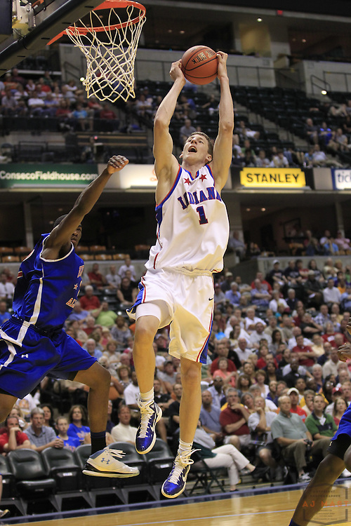 11 June 2011: Indiana All-star Cody Zeller (1), who will attend Indiana University, as the Indiana All-stars played the Kentucky All-stars in a basketball game in Indianapolis, Ind.