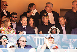 Nicolas Sarkozy and Valeria Bruni-Tedeschi's daughter Celine Garrel attend the match Rafael Nadal vs Grigor Dimitrov (6-4, 6-1) during the Monte Carlo Rolex Masters at the Country Club of Monaco. In the photo Sarkozy is with his lawyer Thierry Herzog. Monaco on april 21th, 2018. Photo by ABACAPRESS.COM