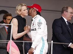 May 26, 2019 - Monte Carlo, Monaco - Motorsports: FIA Formula One World Championship 2019, Grand Prix of Monaco, ..Princess Charlene of Monaco, #44 Lewis Hamilton (GBR, Mercedes AMG Petronas Motorsport) (Credit Image: © Hoch Zwei via ZUMA Wire)