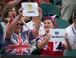 24.06.2011, Wimbledon, London, GBR, Wimbledon Tennis Championships, im Bild British Andy Murray fans during the Gentlemen's Singles 3rd Round match on day five of the Wimbledon Lawn Tennis Championships at the All England Lawn Tennis and Croquet Club, EXPA Pictures © 2011, PhotoCredit: EXPA/ Propaganda/ *** ATTENTION *** UK OUT!