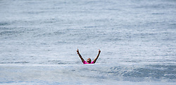 September 15, 2017 - San Onofre, California, USA - Silvana Lima of Brazil throws her arms into the air after she defeated Keely Andrew of Australia in the final of the Swatch Pro held at San Onofre State Beach on Friday, August 15, 2017. (Credit Image: © Mark Rightmire/The Orange County Register via ZUMA Wire)