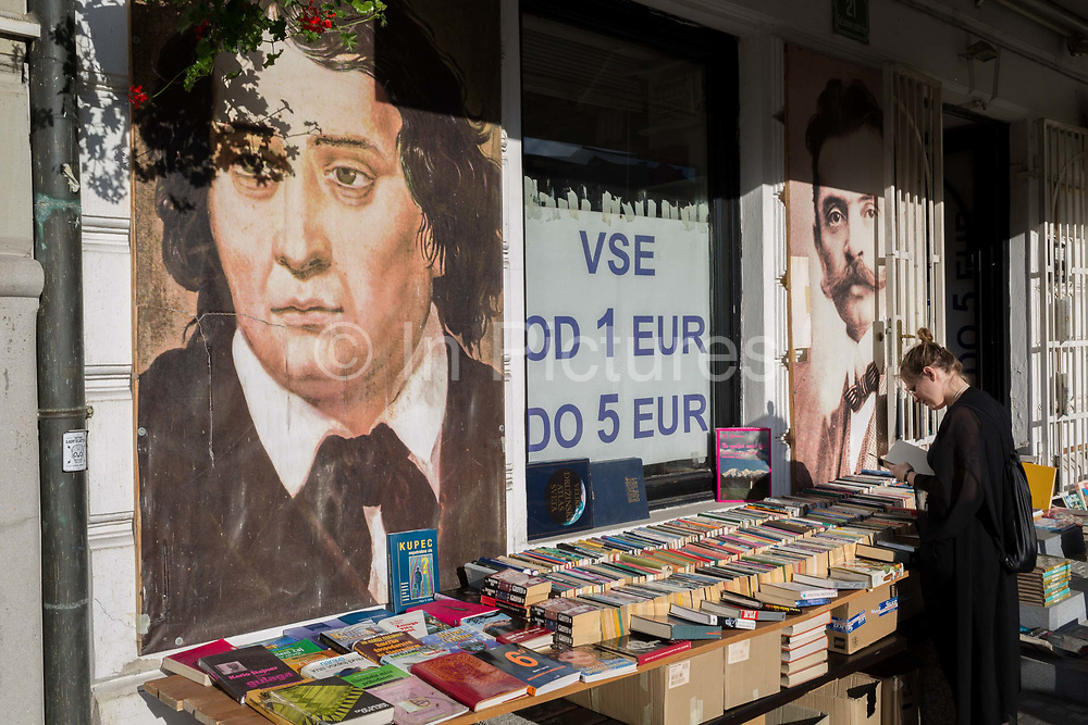 A riverside bookshop on Cankarjevo Nabrezje in the Slovenian capital, Ljubljana, on 25th June 2018, in Ljubljana, Slovenia.