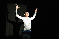 """© Licensed to London News Pictures. 18/06/2015. London, UK. Pictured: """"traumA""""choreographed by Fabian Reimair with Ken Saruhashi performing. The English National Ballet (ENB) presents Choreographics, dance created by emerging and developing choreographers inspired by the theme of """"Post-War America"""" at the Lilian Baylis Studio/Sadler's Wells. Photo credit : Bettina Strenske/LNP"""