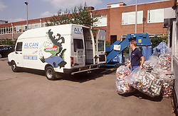 Collecting aluminium drinks cans for recycling,