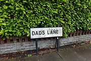 Sign for Dads Lane in Birmingham, United Kingdom. This street is known across Birmingham as the location of the famous and popular Dads Lane Fish Bar, fish and chip shop.