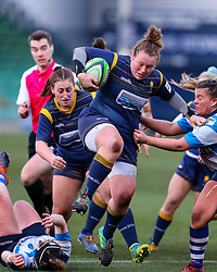 Caryl Thomas of Worcester Warriors Women leaps through the visitor's defence - Mandatory by-line: Nick Browning/JMP - 09/01/2021 - RUGBY - Sixways Stadium - Worcester, England - Worcester Warriors Women v DMP Durham Sharks - Allianz Premier 15s