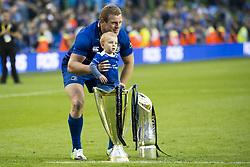 May 27, 2018 - Dublin, Ireland - Sean Cronin of Leinster celebrates victory with his son during the Guinness PRO14 Final match between Leinster Rugby and Scarlets at Aviva Stadium in Dublin, Ireland on May 26, 2018  (Credit Image: © Andrew Surma/NurPhoto via ZUMA Press)