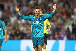 August 13, 2017 - Barcelona, Spain - Cristiano Ronaldo of Real Madrid reacts as receives a red card during the Spanish Super Cup football match between FC Barcelona and Real Madrid on August 13, 2017 at Camp Nou stadium in Barcelona, Spain. (Credit Image: © Manuel Blondeau via ZUMA Wire)